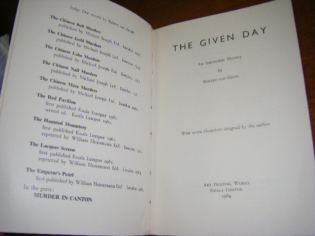 Robert van Gulik Signed copy of The Given Day 05