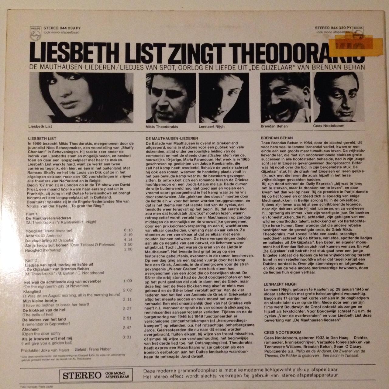 LP Liesbeth Lits Zingt Theodorakis achterkant