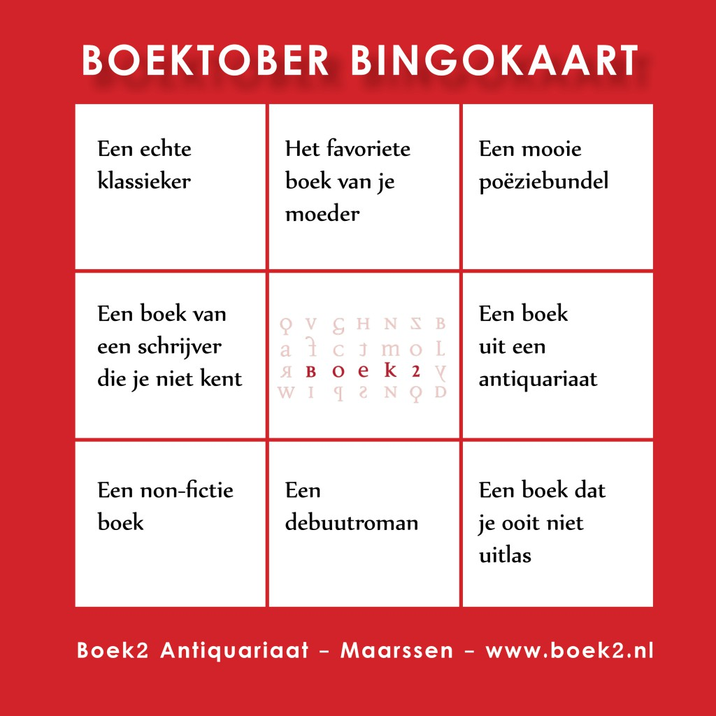 Boektober bingokaart